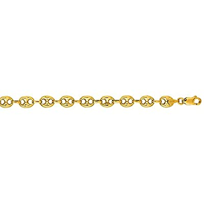 14K Solid Yellow Gold Puffed Mariner Bracelet 6.9mm thick 7 Inches