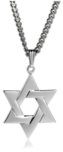 Sterling Silver Star of David Pendant for Men, 24 Inch
