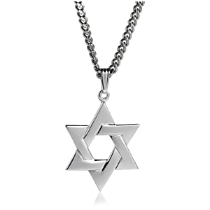 men sterling silver star of david pendant