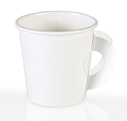 PERFECT 4oz Paper Espresso Cups (50ct) Bundled with Andaman® Coaster - Hot Beverage Cup for Coffee, Tea, Water, Shots, Wheat Grass, Samples and also Cold Drinks - With Handle (Disposable Espresso Coffee Cups compare prices)