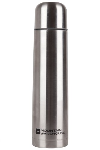 Mountain Warehouse 1 Litre Stainless Steel Flask Metallic One Size