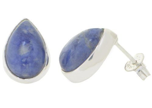 Sodalite Gemstone Earring Studs Drops, ErCe, 925 Sterling Silver, 12x9 mm, in Gift Box
