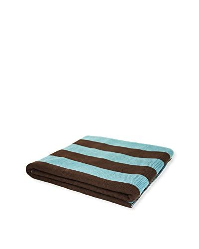 PÜR Cashmere Jacquard Stripe Pattern Throw, Milky Blue