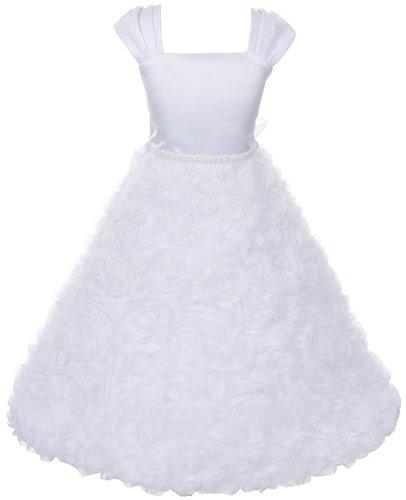 Satin Bodice Full Rosette Skirt Communion Flower Girl Pageant Dress - White 8