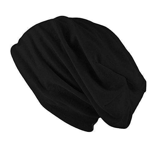 Berretto leggero Primavera Jersey Beanie lungo per uomo e donna - Unisex by Oramics disponibile in tantissimi colori diversi (Nero)