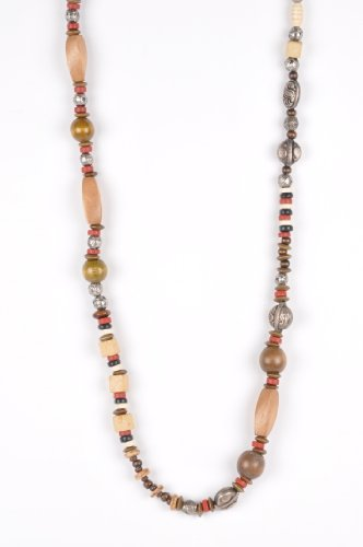 Long Beaded African Necklace in Earth Tones Handmade by Me'Lani Africa
