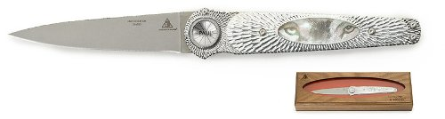"""Lone Wolf Knives Paul Defender By Michael Prater """"Wolf Eyes"""" 3.9"""" Blade"""