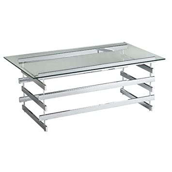 Decorative, Modern, Hexton Chrome Cocktail/ Coffee Table with Metal Stacked Ladder Legs and an Elegant Glass Tabletop Is Perfect Addition to Your Living Space
