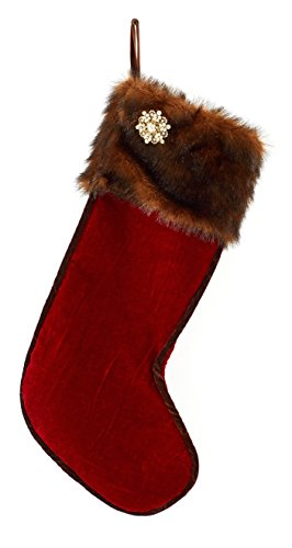 Red Velvet and Faux Fur Christmas Stocking with Detachable 75+ Rhinestone Pin