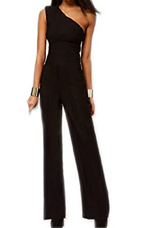 zeagoo overall damen elegant sommer festlich jumpsuit schwarz bekleidung. Black Bedroom Furniture Sets. Home Design Ideas