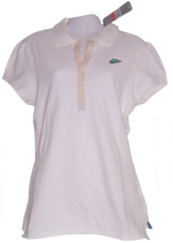 NIKE LADIES POLO SHIRT PIQUE WHITE WOMENS TENNIS TOP SIZE S M L, 8, 10,12, 14 NEW