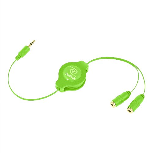 Retrak Retractable Headphones Splitter, Green (Etcablesplgn)