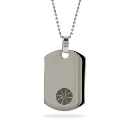 Stainless Steel Basketball Dog Tag Length 24 inches (Lengths 18 inches 20 inches 24 inches Available)