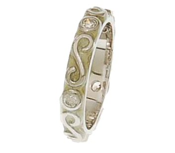 Beautiful Brass with a Rhodium Overlay Cream Enamel Ring with Swirl Design!