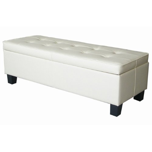 Cream Leather Tufted Storage Bench Ottoman