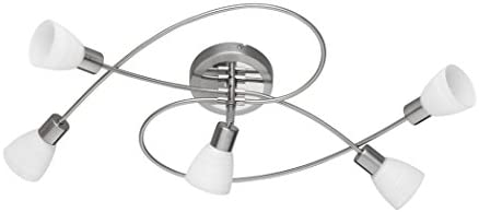 Trio Leuchten LED-Deckenleuchte Carico, nickel matt / chrom, Glas weiß gewischt 671510507