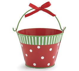 Red green tin christmas pail christmas decor for Christmas tin pails