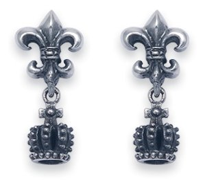 Sterling Silver Fleur De Lis Stud Earrings with Dangling Crown. From the Days of Chivalry, Crusaders and Knights of the Round Table.