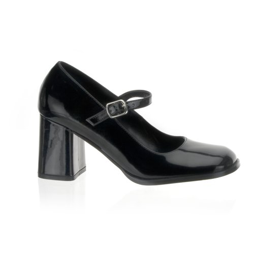 Wedding Shoes: GOGO 3 Inch Block Heel Mary Jane Pump Shoes Black Patent Pleaser-Pleaser Wedding Shoes-Pleaser Wedding Shoes: GOGO 3 Inch Block Heel Mary Jane Pump Shoes Black Patent Pleaser-Pump Wedding Shoes