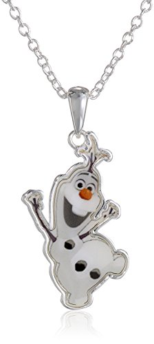 """Disney Girls' """"Frozen"""" Silver-Plated Olaf Pendant Necklace, 16"""""""
