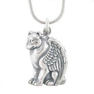 Winged wolf or dog pendant in sterling silver on 16 rhodium snake