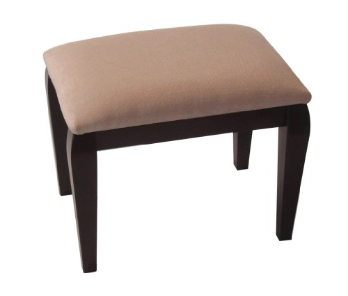 Champagne Chenille Top Dressing Table/Bedroom Stool with Mahogany Legs