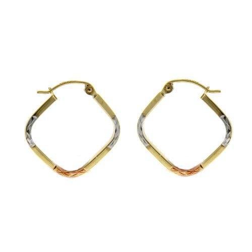 14KT Gold Hoops 3T Diagonal Shape