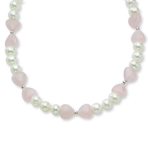 Silver Freshwater Cultured Pearl/Rose Quartz Heart Necklace. 18in long Chain.