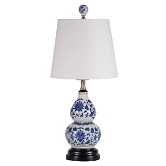 small blue white porcelain double gourd accent table lamp small blue. Black Bedroom Furniture Sets. Home Design Ideas