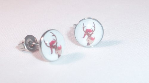 The Stainless Steel Jewellery Shop - 8mm Stainless Steel Stud Earrings(Pair) - Rudolph the red nose reindeer Earrings - (will not fade/tarnish) - Includes gift Bag