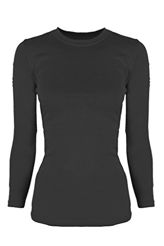 G2 Chic Women's Long Sleeve Crewneck Layer T-shirt for Medical Scrubs(TOP-MED,BLK-M)