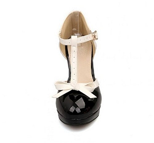 Lucksender Fashion T Strap Bows Womens Platform High Heel Pumps Shoes 3
