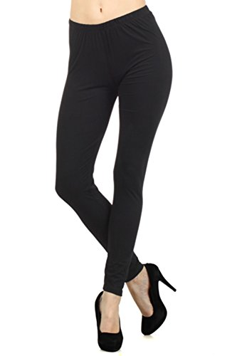 Always Women's Solid Color Full Length High Waist Leggings Black One Size