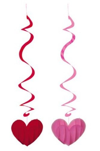 Creative Converting Dimensional Hearts Dizzy Danglers Hanging Party Decorations, 2 Per Package