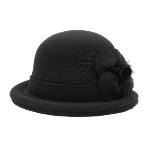 Donna Autunno Inverno Elegante Beret regolabile decorativi netto Fiore di feltro delle lane Cap Slouchy cappello Cozy , black