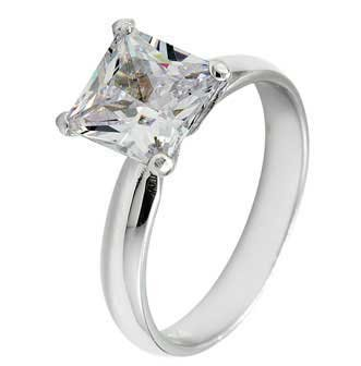 Sterling Silver Engagement Ring With Princess Cut Cubic Zirconia in Four Prongs in Solitaire Setting