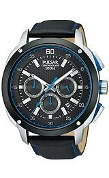 Pulsar by Seiko Chronograph Black Leather Men's Watch #PT3391