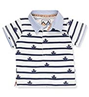 Autograph Pure Cotton Boat Print & Striped Rugby Shirt