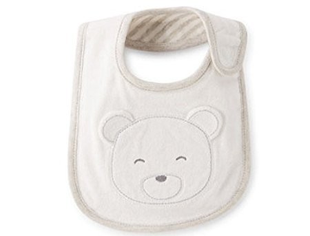 Carter's Bib White Baby Bear Reversible Beautiful Teething or Feeding Bib