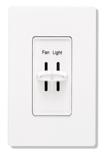 Lutron S2-LFSQH-WH Electronics Dual Slide-To-Off Fan and Light Control WhiteB0000BYEIV : image