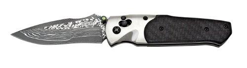 "SOG Arcitech Folding Knife A03-P - Polished Damascus, Carbon Fiber Handle, 3.5"" Blade, Arc-Lock"