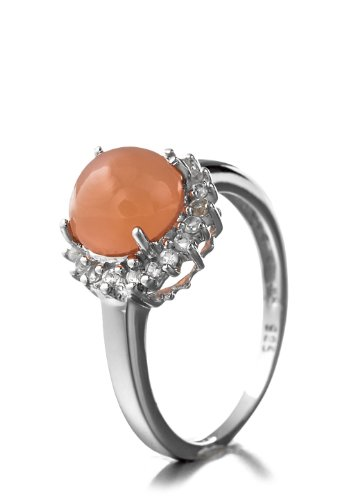 2.40 Carat Genuine Peach Moonstone and White Topaz Sterling Silver Ring