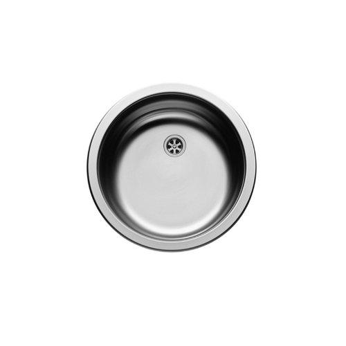 PYRAMIS CR Rundbecken Spüle Edelstahl poliert mit Stopfenventil Ø 60 mm / Ausschnittsmaß Ø 430 mm / Edelstahlspüle rund / Spüle