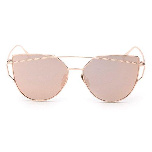 Occhiali da Sole, Ularma Donna Moda Twin-Beams Specchio Occhio di Gatto Occhiali (Oro Rosa)