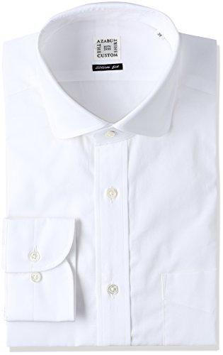(アザブ ザ カスタム シャツ)AZABU THE CUSTOM STORE(アザブ ザ カスタム ストア) ブロードクロス ホワイト 無地 ラウンドカラー スリムフィット 長袖シャツ
