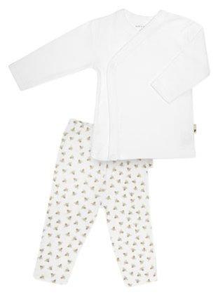 Burt'S Bees Baby Unisex Baby Essentials Kimono Top/Print Bottom (Baby)-Cloud - 3-6 Months