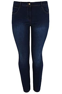Yoursclothing Plus Size Womens Indigo Straight Leg 5 Pocket Denim Jeans