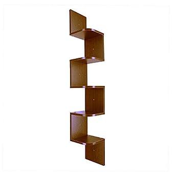 Prountet Home Indoor Corner Shelf Wall Mount Zig Zag Furniture Wooden Shelves Rack Modern