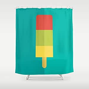 Society6 Red Green And Yellow Striped Ice Lolly Shower Curtain By Lewys Williams