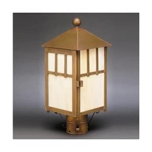 Click to read our review of Outdoor Post Lighting: Northeast Lantern 1733-AB-MED-CRML Lodge Post Lighting - Antique Brass